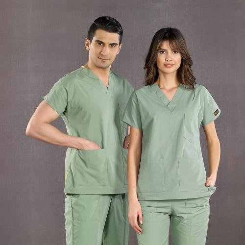 Dr. Greys Modeli Küf Yeşili Hemşire Forması