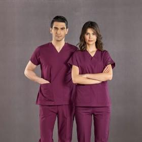 Dr. Greys Modeli Mürdüm Renk Hemşire Forması