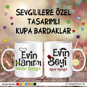 Evin Hanımı - Evin Beyi Sevgili Kupa Bardağı
