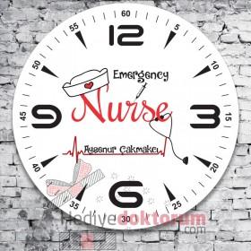 Emergency Nurse Tasarımlı Cam Duvar Saati