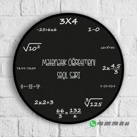 Matematik Tasarımlı Baskılı Cam Duvar Saati