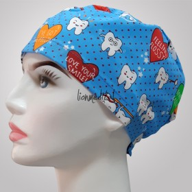 Smile Tooth Patterned Blue Surgical Caps