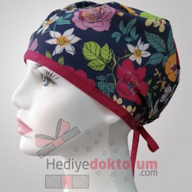 Flower Wordst Patterned Surgical Scrub Caps