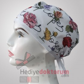 Flower Patterned Surgical Scrub Caps