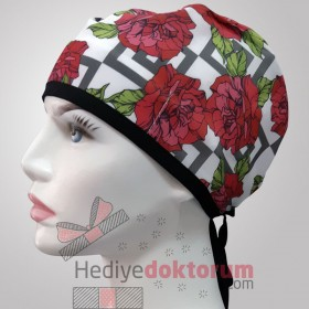 Red Flowers Patterned Surgical Scrub Caps