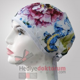 Bird and Butterfly Patterned Surgical Scrub Caps