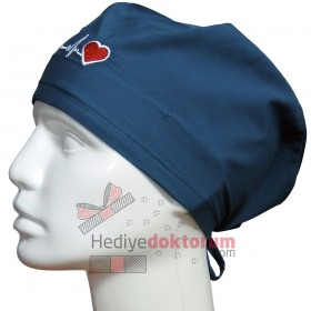 EKG Nakışlı Petrol Mavisi Cerrahi Bone