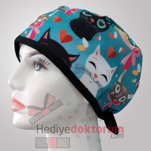 Cute Cat Patterned Surgical Scrub Caps