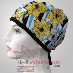 Yellow Flowers Patterned Surgical Scrub Caps