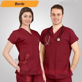 Dr. Greys Modeli Bordo Hemşire Forması