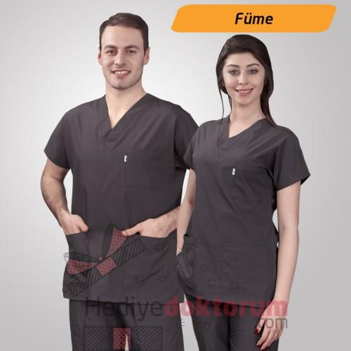 Dr. Greys Modeli Füme Hemşire Forması