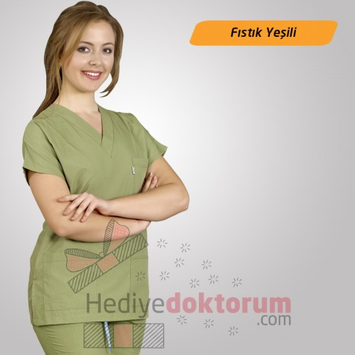 Dr. Greys Modeli Fıstık Yeşili Hemşire Forması