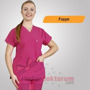 Dr. Greys Modeli Fuşya Hemşire Forması
