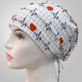 EKG Patterned Surgical Scrub Caps