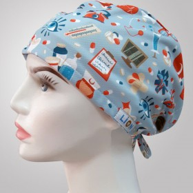 Medical Icon Patterned Surgical Scrub Caps