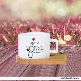 I am a Nurse Tasarımlı Hediye Standlı Fincan