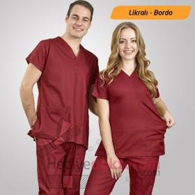 Dr. Greys Likralı Hemşire Forması - Bordo Renk