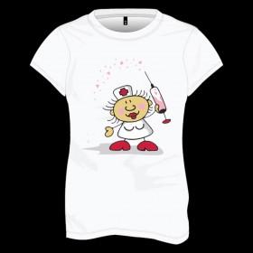 Kalp Saçan Şırıngalı Hemşire Baskılı Tişört